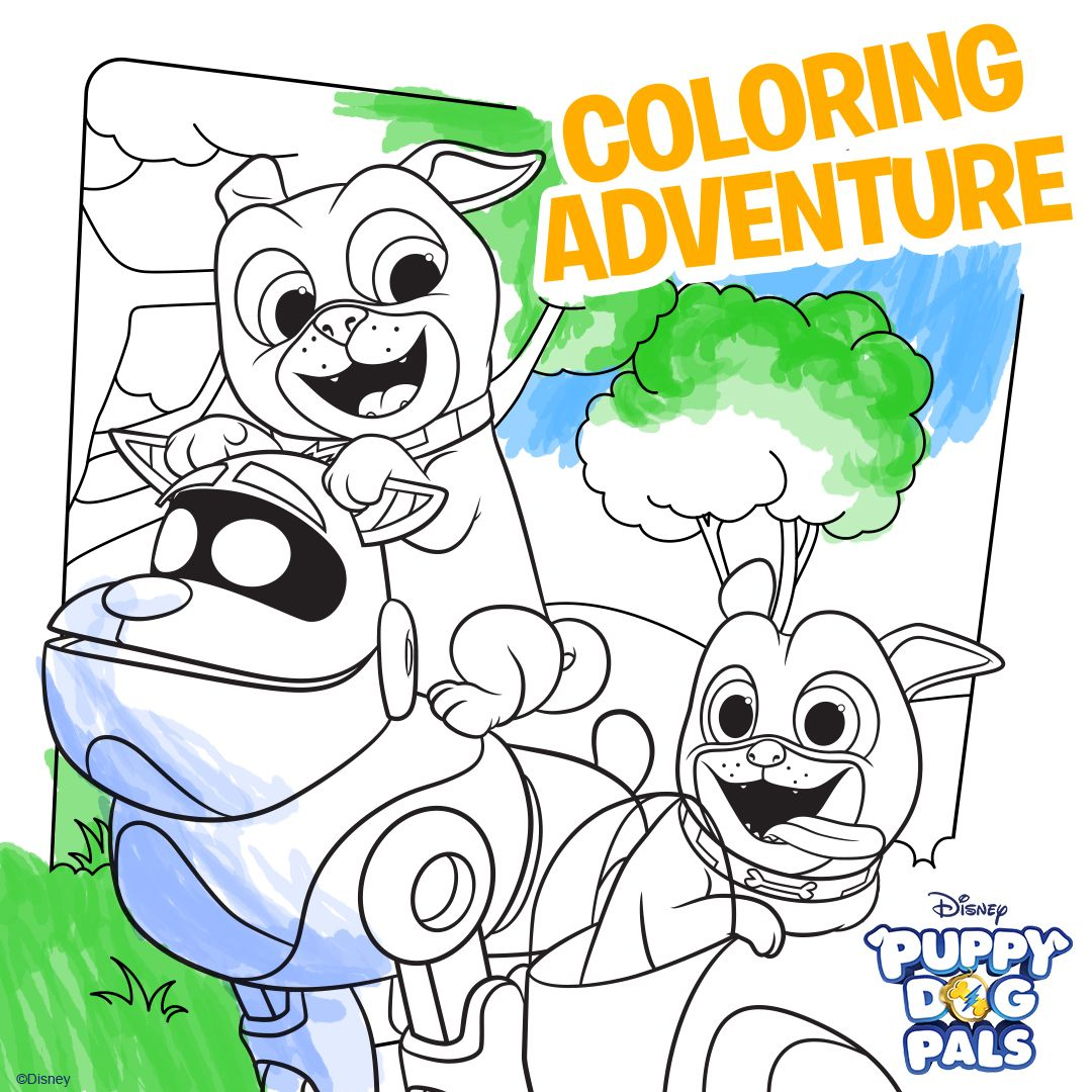 Let s go on an adventure dog clipart banner library stock Puppy Dog Pals - Printable Coloring Sheets | Go on a coloring ... banner library stock