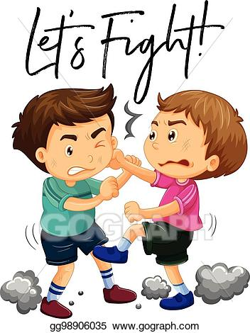 Let s use kind words to each other clipart vector library library EPS Vector - Phrase let\'s fight with two angry boys fighting. Stock ... vector library library