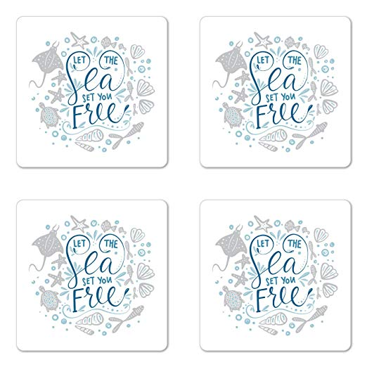 Let the sea set you free tutrtle clipart picture stock Amazon.com: Ambesonne Nautical Coaster Set of Four, Let The Sea Set ... picture stock