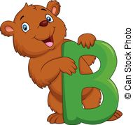 Letter b clipart bear vector freeuse download Vector Clip Art of Alphabet B with bear cartoon - Alphabet B with ... vector freeuse download