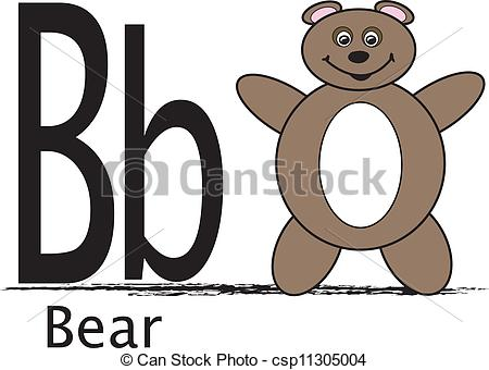 Letter b clipart bear clipart download Vector Clipart of B is for Bear - The uppercase and lowercase ... clipart download