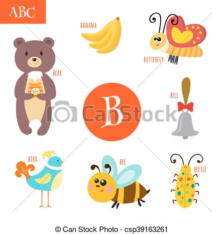 Letter b clipart bear graphic black and white library Clip Art Vector of Letter B. Cartoon alphabet for children. Bear ... graphic black and white library