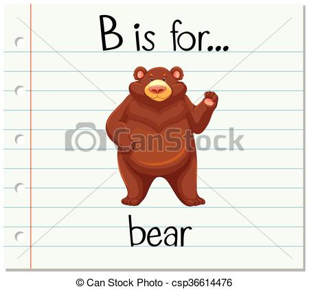 Letter b clipart bear picture download Vectors Illustration of Flashcard letter B is for bear ... picture download