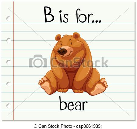 Letter b clipart bear banner transparent download Vectors of Flashcard letter B is for bear illustration csp36613331 ... banner transparent download
