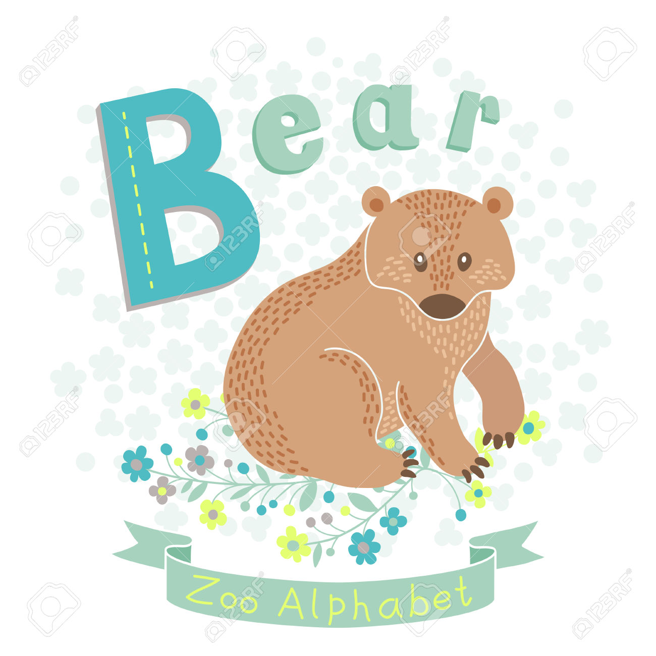 Letter b clipart bear graphic black and white stock Letter B - Bear. Alphabet With Cute Animals. Vector Illustration ... graphic black and white stock