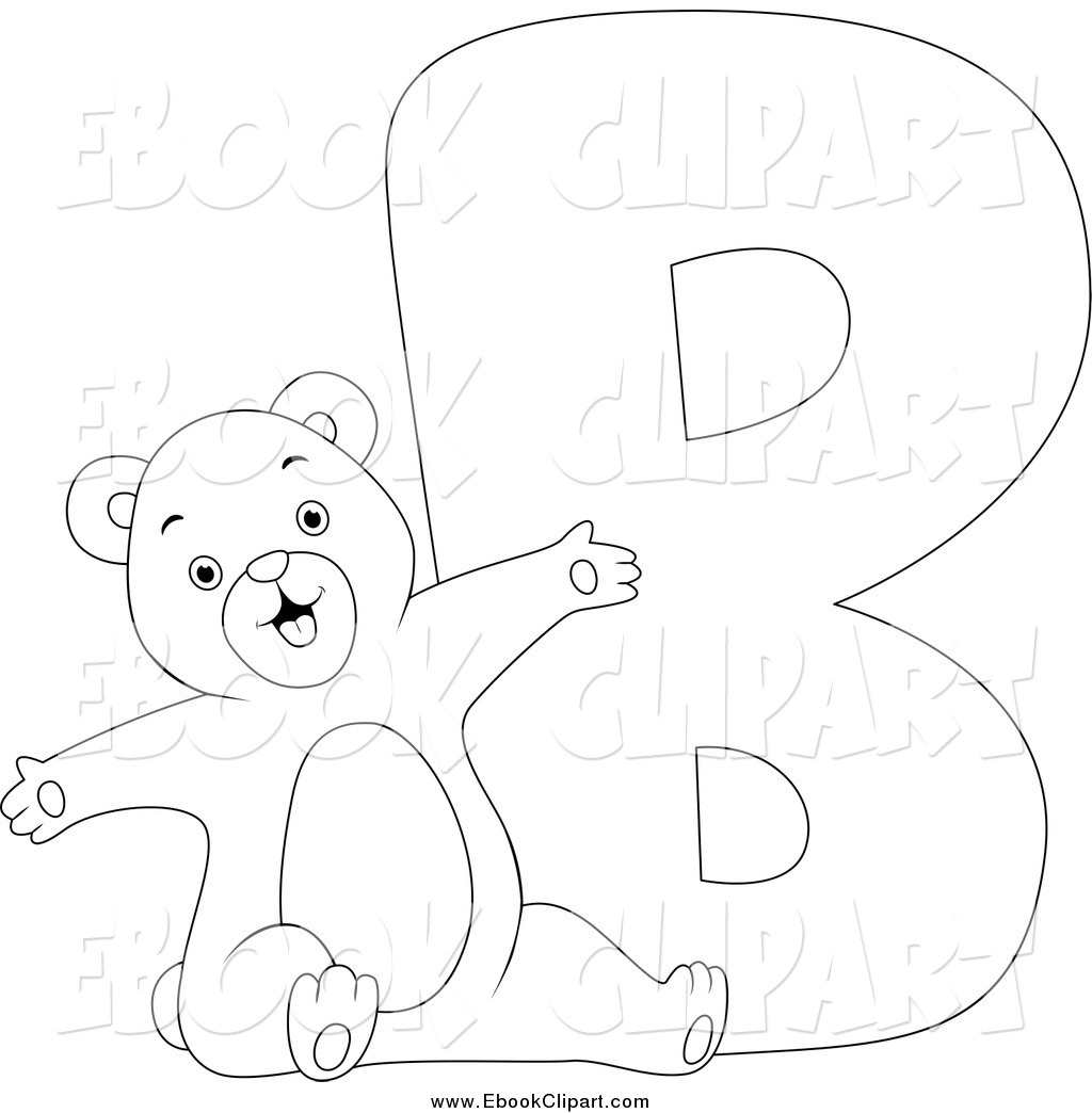 Letter b clipart bear clip art black and white Vector Clip Art of a Black and White B Is for Bear Coloring Page ... clip art black and white