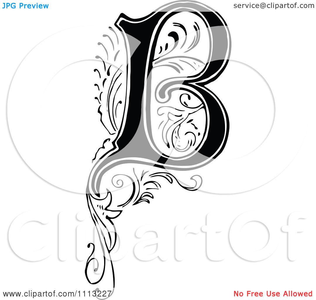 Letter b clipart black and white jpg freeuse Clipart Vintage Black And White Letter B - Royalty Free Vector ... jpg freeuse