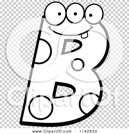 Letter b clipart black and white image library download Cartoon Clipart Of A Black And White Alien Letter B - Vector ... image library download