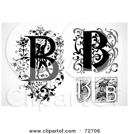 Letter b clipart free caligraphy banner black and white Royalty Free Letter B Illustrations by BestVector Page 1 banner black and white