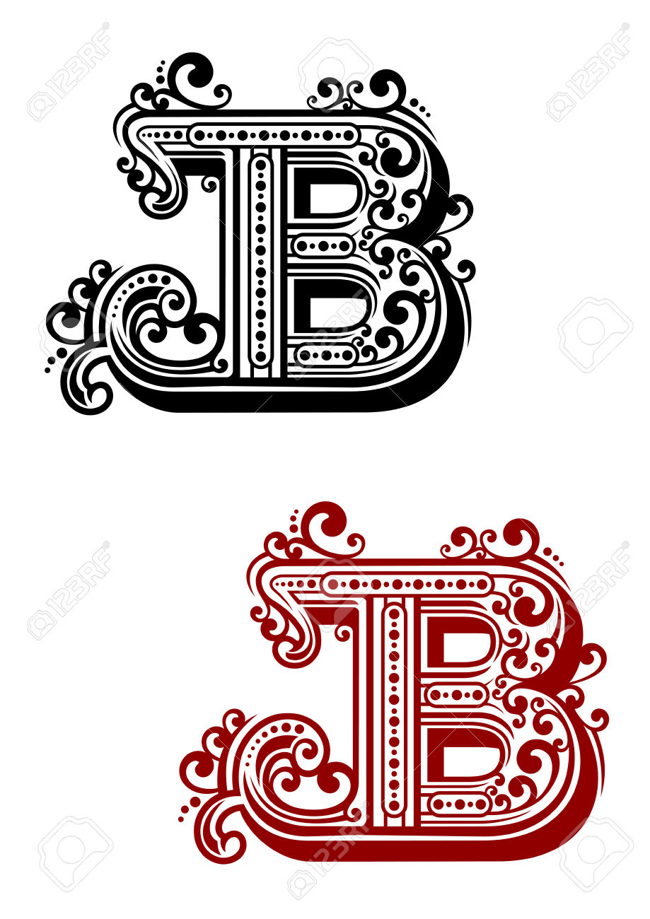 Letter b clipart free calligraphy image royalty free stock Calligraphic Letter B In Uppercase Font With Elegant Swirls And ... image royalty free stock