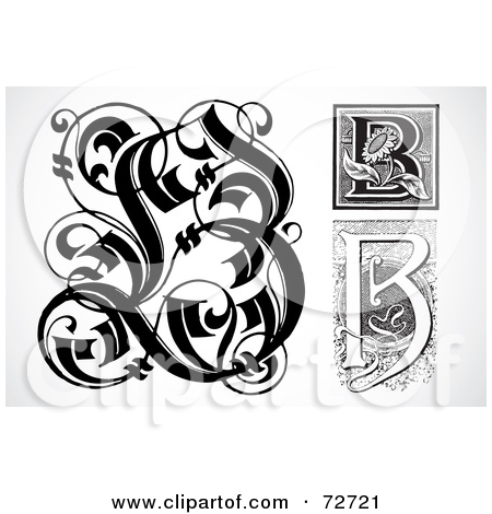 Letter b clipart free calligraphy jpg stock Royalty Free Letter B Illustrations by BestVector Page 1 jpg stock