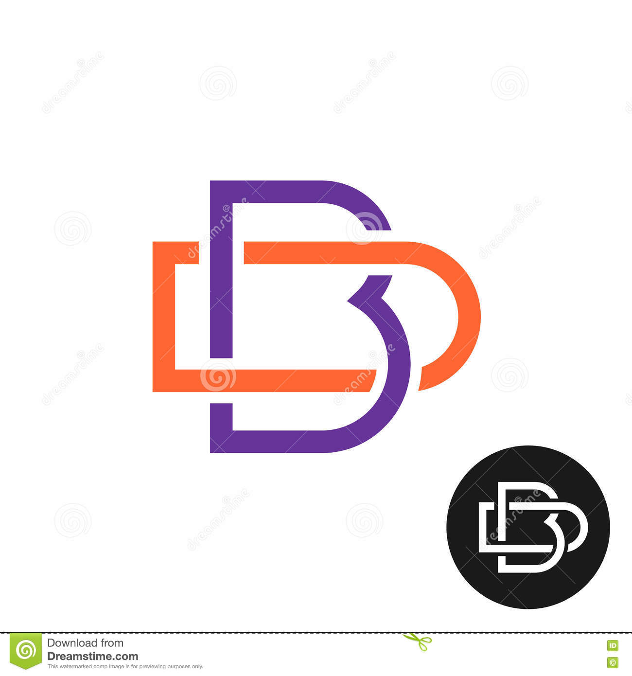Letter b clipart outline clip art black and white stock Letters B And D Outline Style Weave Ligature Logo Stock Vector ... clip art black and white stock