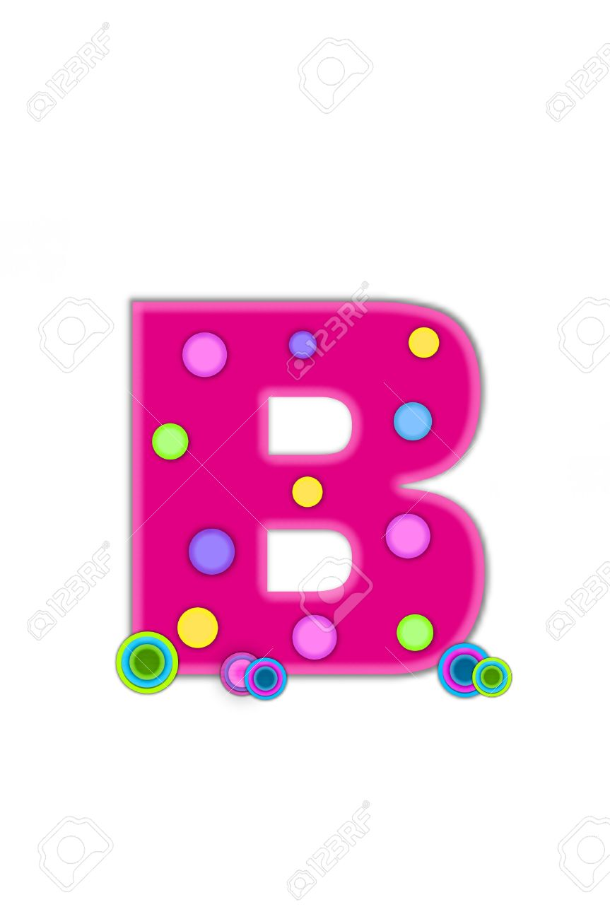 Letter b outline clipart clip transparent library The Letter B, In The Alphabet Set Dots, Is Hot Pink With Lighter ... clip transparent library