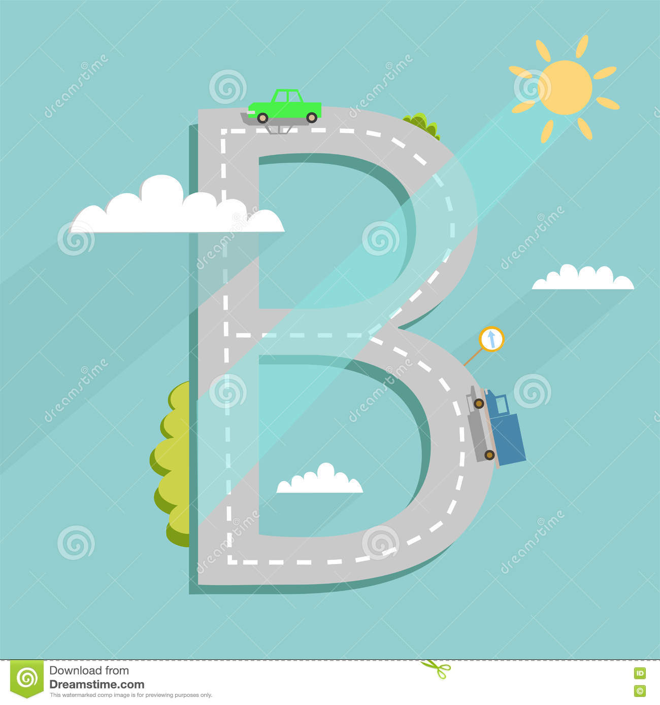 Letter b road clipart banner freeuse download Cartoon Road Map Of A City In The Form Of A Letter Stock Vector ... banner freeuse download