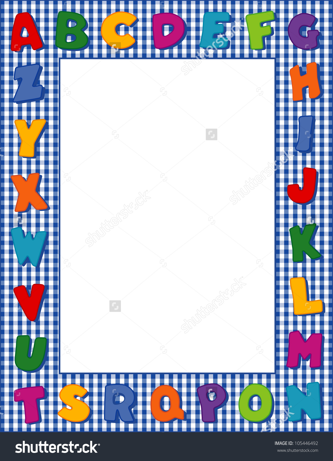Letter clipart abc border png library Alphabet Frame Multicolor Letters Blue Gingham Stock Illustration ... png library