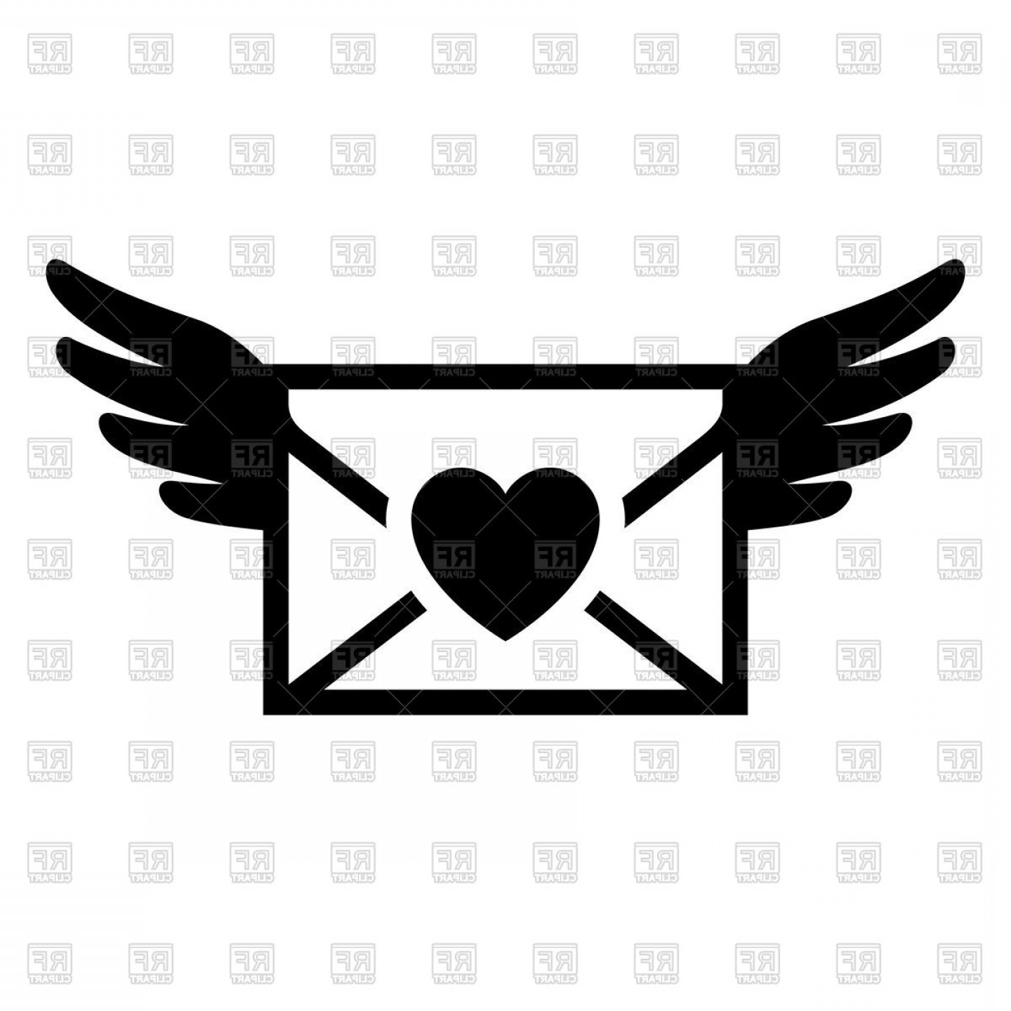 Letter clipart icon graphic freeuse download Love Letter Icon Email With Heart On White Background Vector ... graphic freeuse download