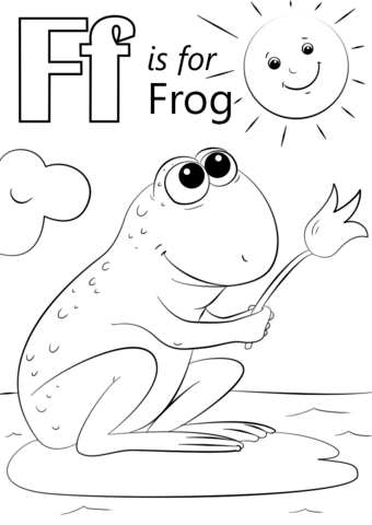 Letter f frog clipart banner black and white Letter F is for Frog coloring page   Free Printable Coloring Pages banner black and white