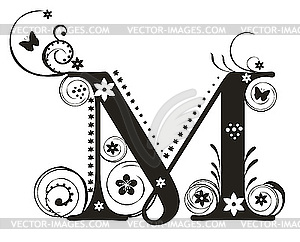Letter m design clipart clipart stock Decorative letter M with flowers for design - vector image clipart stock