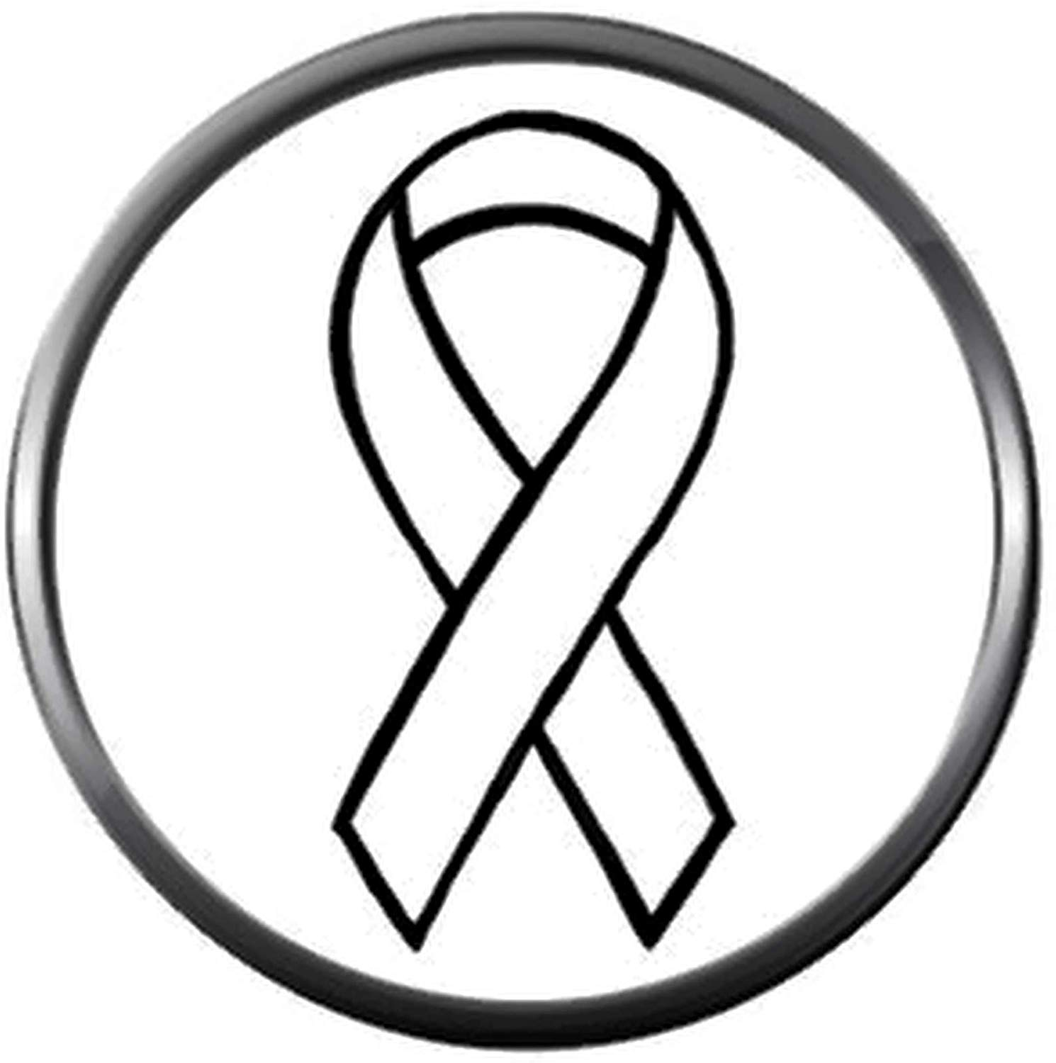 Letter p cancer ribbon black and white clipart png library library Amazon.com: Snap Jewelry Cancer White Ribbon Lung Cancer Fashion ... png library library