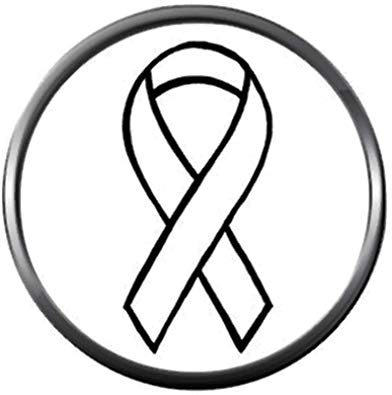Letter p cancer ribbon black and white clipart graphic freeuse Amazon.com: Snap Jewelry Cancer White Ribbon Lung Cancer Fashion ... graphic freeuse