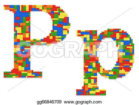 Letter p in building blocks clipart jpg royalty free library Stock Illustration - Letter p built from toy bricks in random ... jpg royalty free library