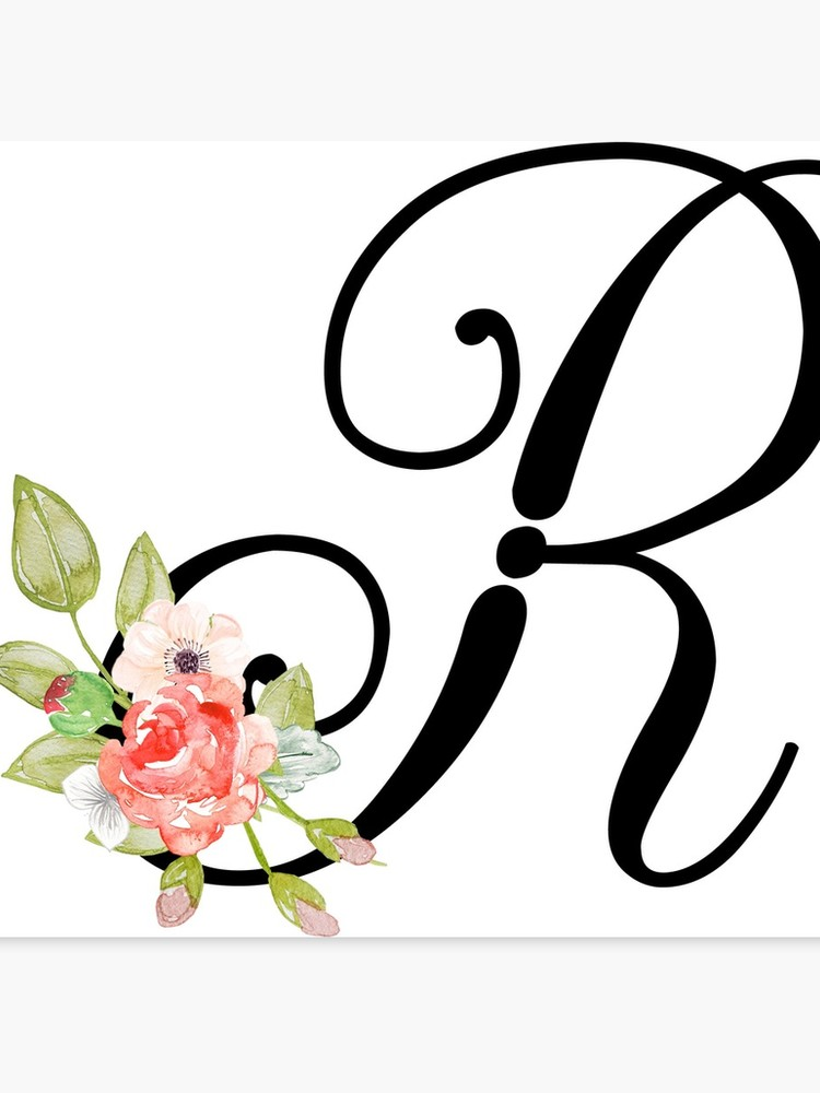 Letter r and t clipart clip art transparent Floral Monogram Fancy Script Letter R | Canvas Print clip art transparent