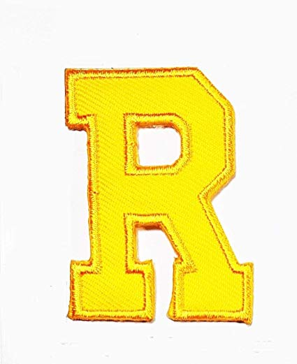 Letter r and t clipart graphic library Amazon.com: Yellow letter R patch logo Sew On Patch Clothes ... graphic library