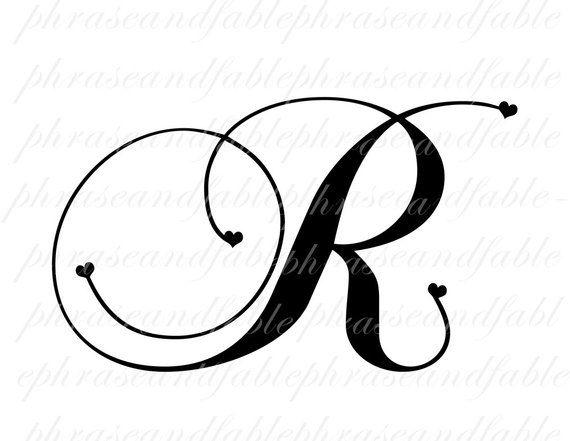 Letter r clipart calligraphy jpg download Letter R Hearts 288 Digital Download Alphabet Initial Name ... jpg download