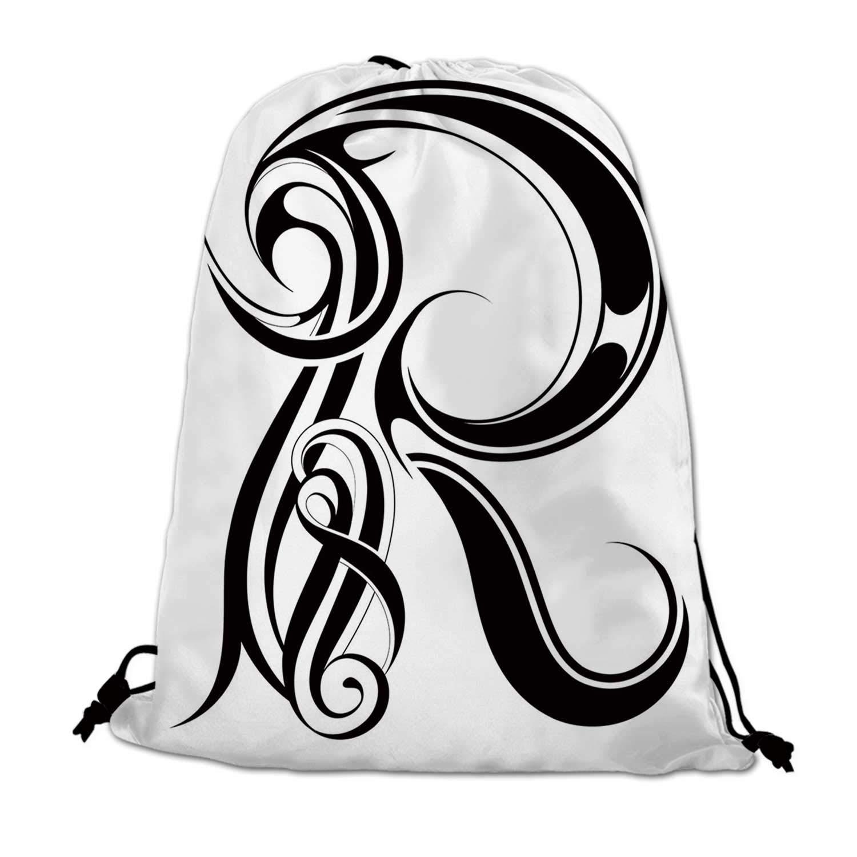Letter r clipart calligraphy png transparent Amazon.com | Letter R Lightweight Drawstring Bag, Gothic ... png transparent