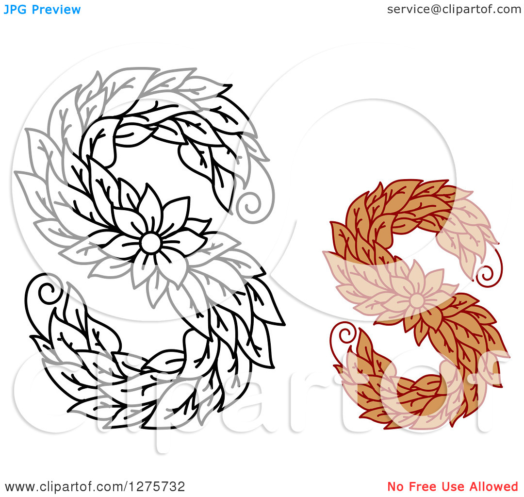 Letter s clipart colored vector black and white stock Clipart of Black and White and Colored Floral Capital Letter S ... vector black and white stock