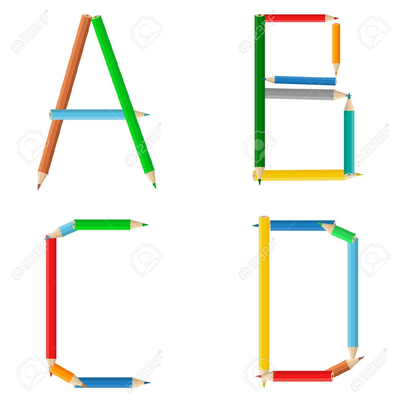 Letter s clipart pencil png freeuse download Alphabet Made Of Colored Pencils, Letters A, B, C, D Royalty Free ... png freeuse download
