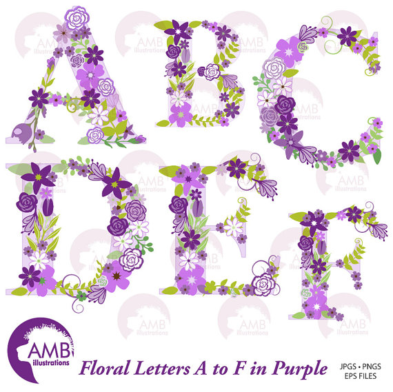 Letter s clipart purple library Floral Alphabet Clipart, Shabby Chic Alphabet, Purple Floral ... library