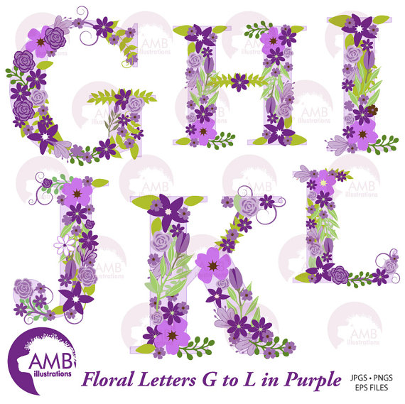 Letter s clipart purple png black and white library Floral Alphabet Clipart, Shabby Chic Alphabet, Purple Floral ... png black and white library