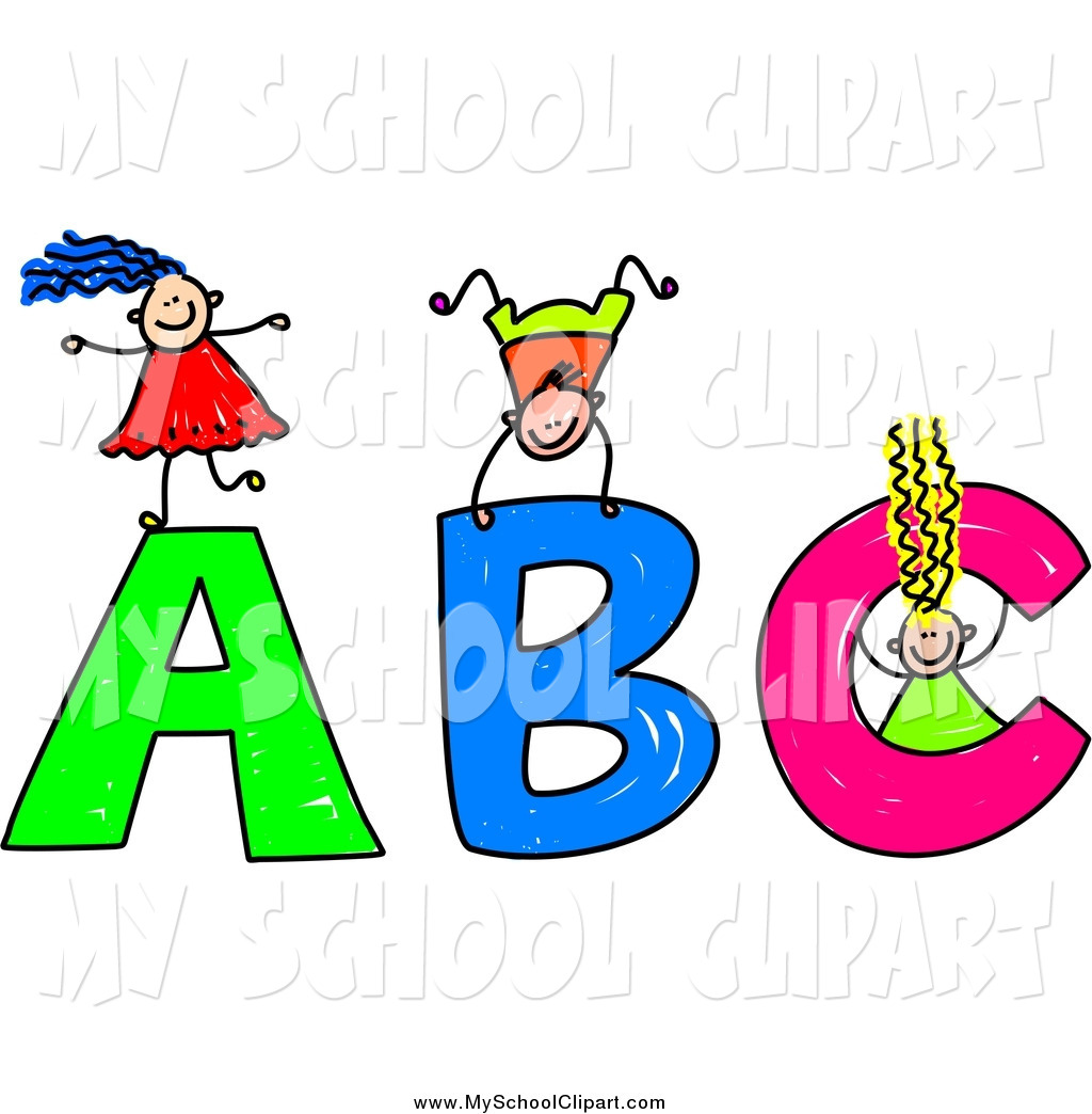 Letters for kids clipart image freeuse download Clip Art of Stick Kids Playing on Giant ABC Letters by Prawny - #849 image freeuse download