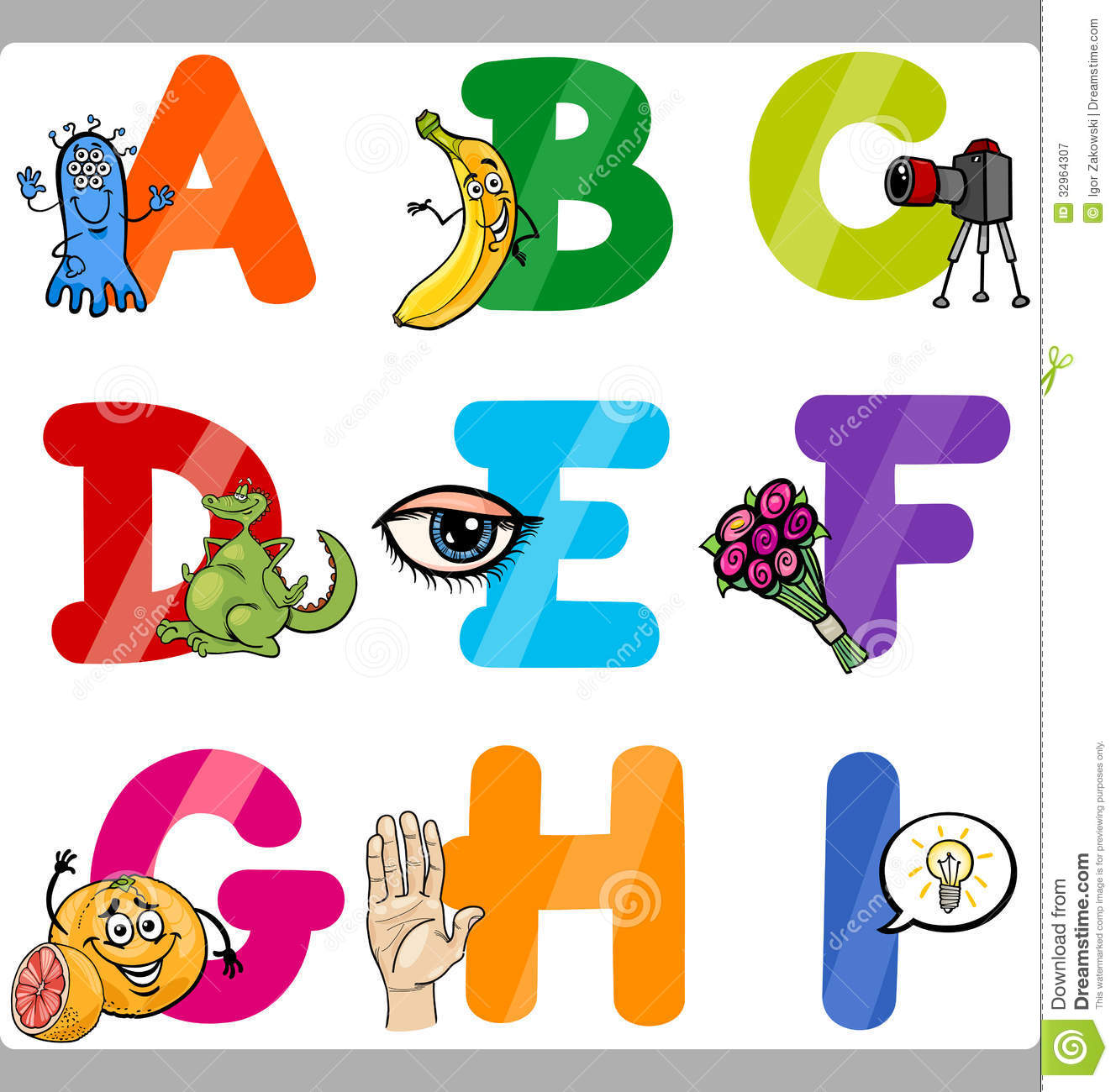 Letters for kids clipart picture free Education Cartoon Alphabet Letters For Kids Royalty Free Stock ... picture free