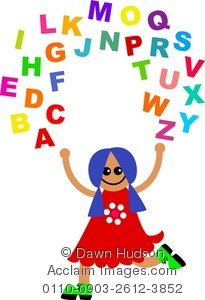 Letters of the alphabet clipart graphic freeuse download Clipart Illustration of a Happy Little Child Juggling All the ... graphic freeuse download