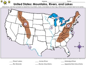 Lewis and clark map rivers rocky mountains clipart picture stock United States Map: Mountains, Rivers, and Lakes - Locate ... picture stock