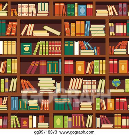 Library shelf clipart image free Vector Art - Library book shelf seamless vector pattern of ... image free