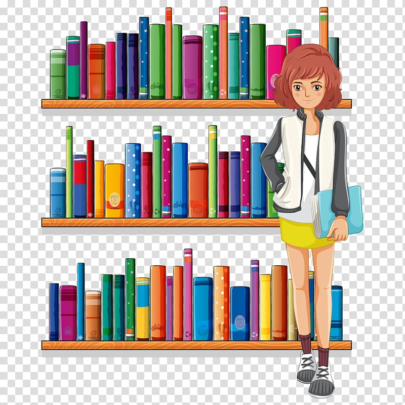 Library shelf clipart black and white download Library Librarian , Cartoon books transparent background PNG ... black and white download