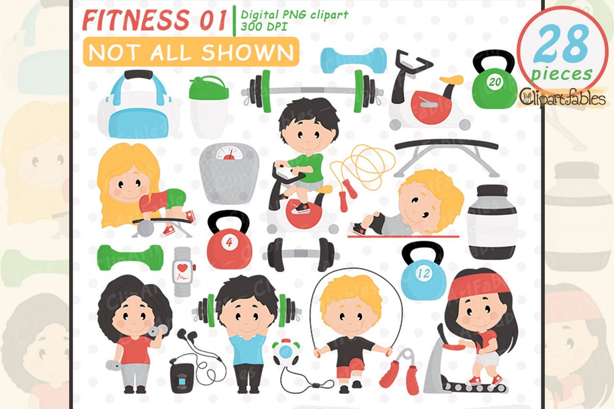 Workout clipart set jpg black and white stock Cute fitness clipart, gym clip art set, workout design, yoga jpg black and white stock