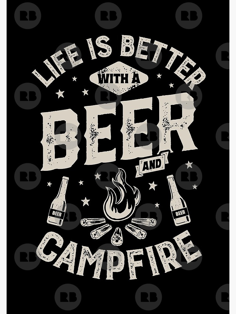 Life is better camping black and white clipart graphic transparent download Life is Better with a Beer and Campfire T shirt Funny Camping Camper Camp  Gifts Men Women | Spiral Notebook graphic transparent download