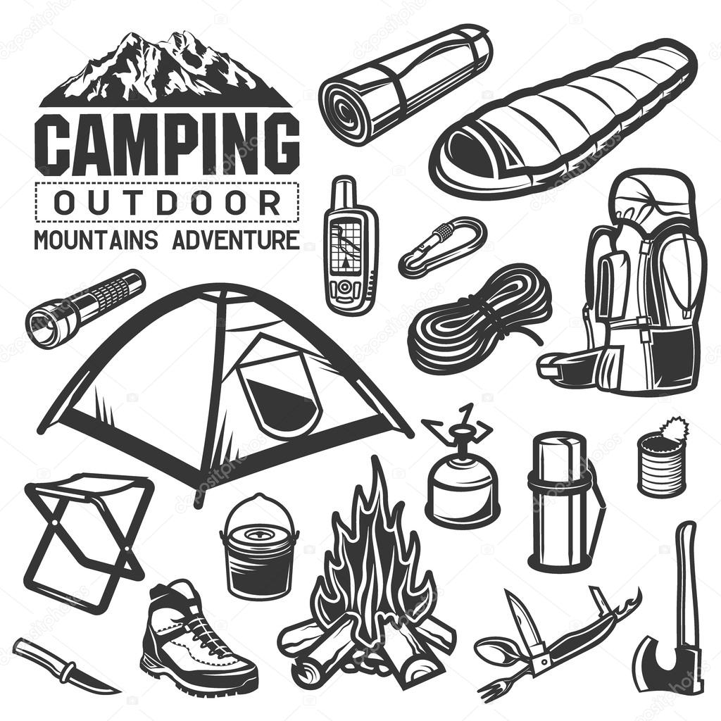Life is better while camping black and white clipart