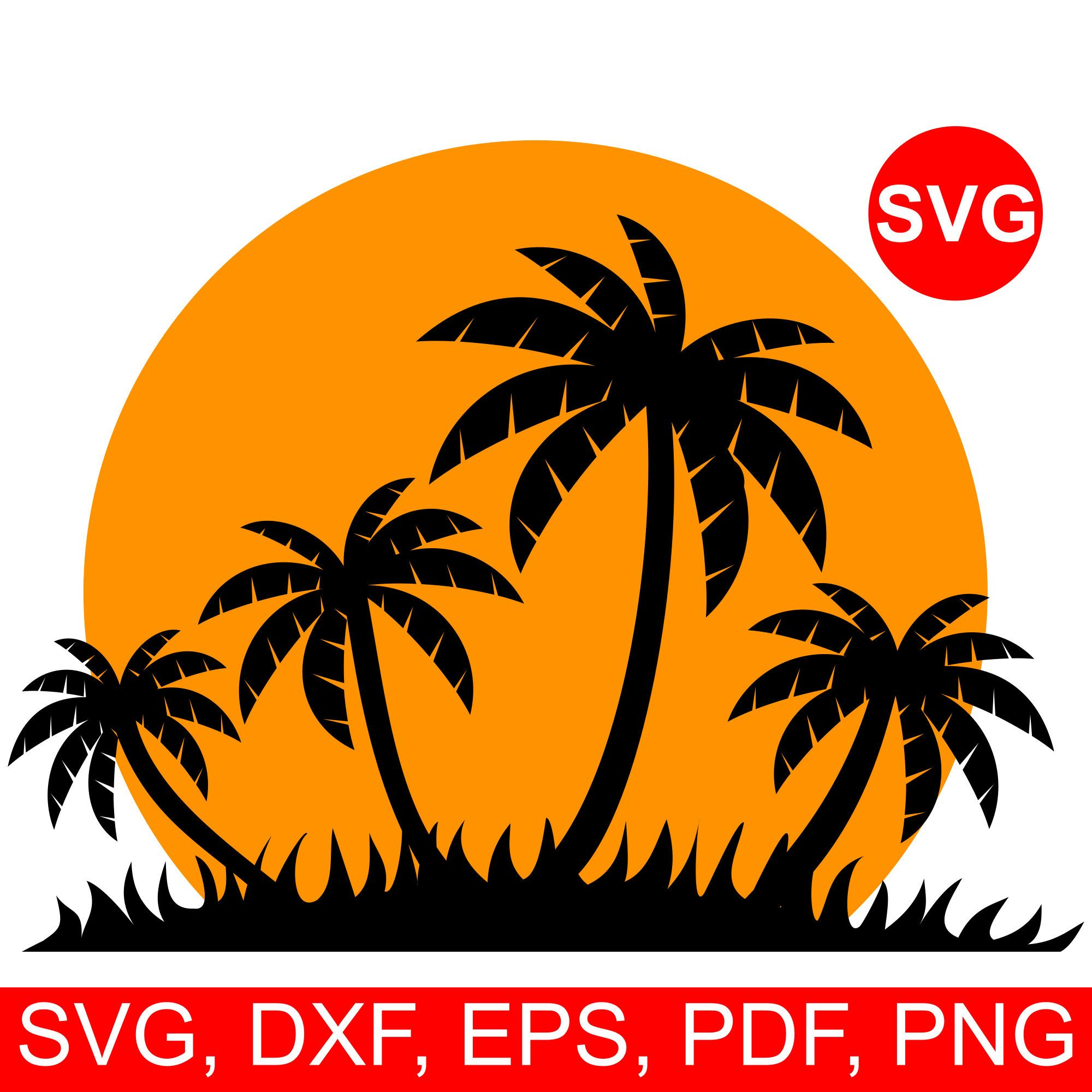 Life is good palm trees and sunset clipart vector black and white download Tropical Sunset SVG File for Cricut & Silhouette, paradise island ... vector black and white download