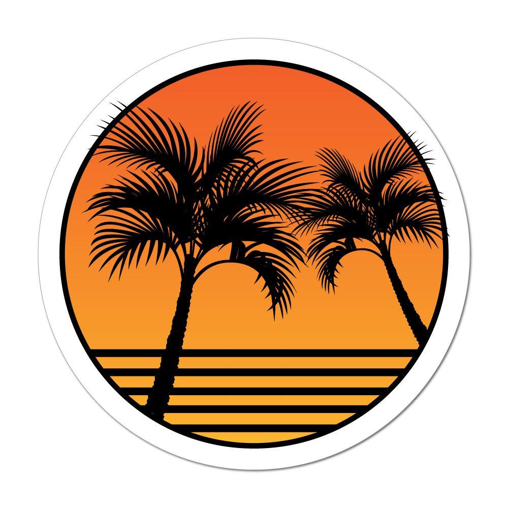 Life is good palm trees and sunset clipart jpg black and white stock Palm Tree Sunset Beach Sand Summer Holiday Good Vibes Car Sticker Decal jpg black and white stock