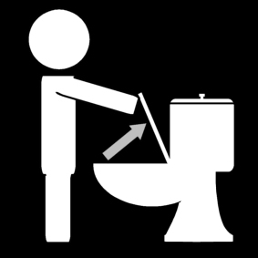 Lift the seat clipart black and white