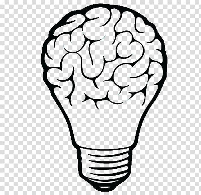 Light bulb brain clipart black and white clipart transparent stock Incandescent light bulb Drawing Brain, light transparent background ... clipart transparent stock