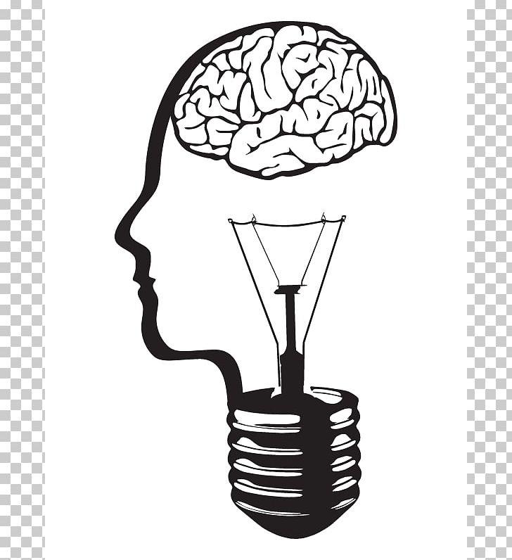 Light bulb brain clipart black and white library Incandescent Light Bulb Brain PNG, Clipart, Black And White, Brain ... library