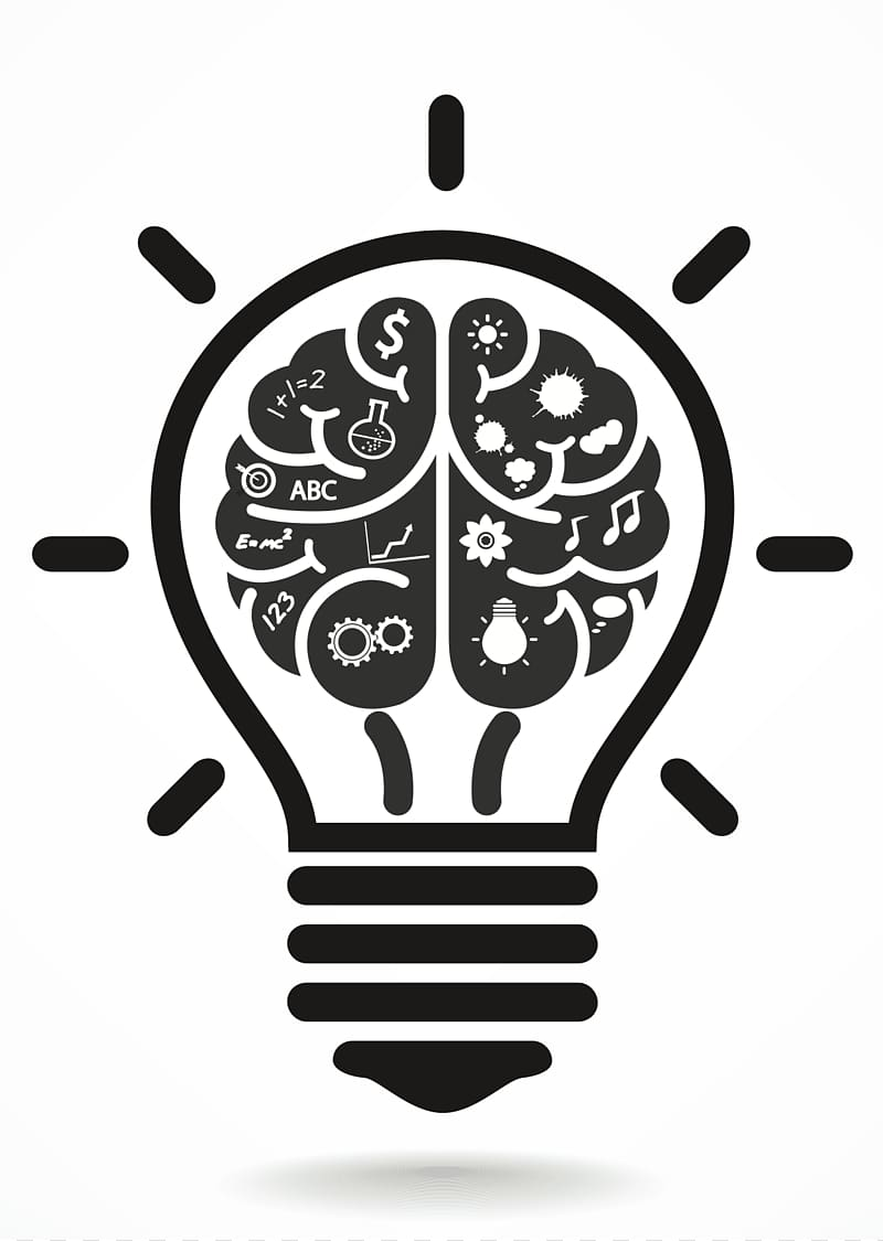 Light bulb brain clipart black and white image Brain light bulb , Brain Incandescent light bulb Computer Icons ... image