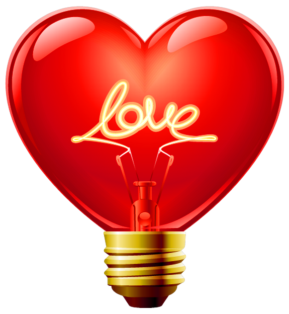Light bulb with heart clipart vector black and white Love Heart Bulb PNG Clipart | Gallery Yopriceville - High-Quality ... vector black and white
