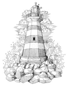 Lighthouse with waves clipart black and white image black and white download Graphic Drawing of Light House With Waves premium clipart ... image black and white download